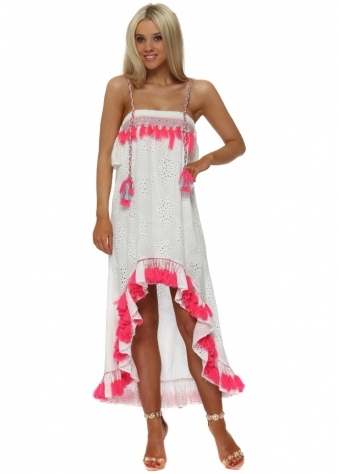White Broderie Anglaise Pink Tassle Hi Lo Dress