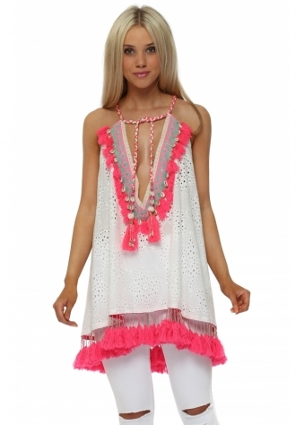 White Broderie Anglaise Hot Pink Tassle Swing Top