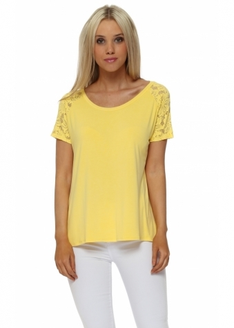 Carrie Lace Cap Sleeve Top In Canary
