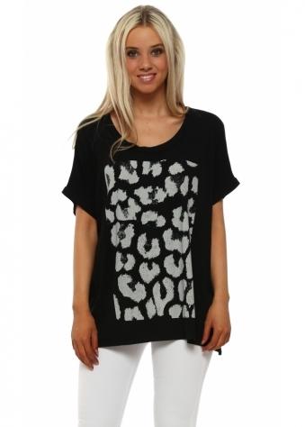 Leopard Print Black Tunic Tee