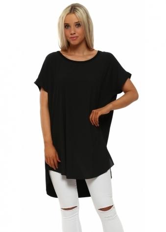 Paris Black Contrast Back Short Sleeve Top