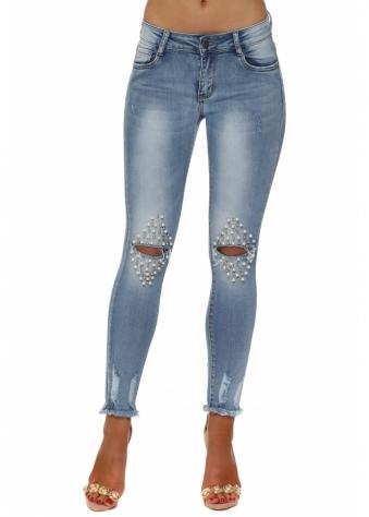 Blue Stretch Fit Distressed Split Pearl Knee Jeans