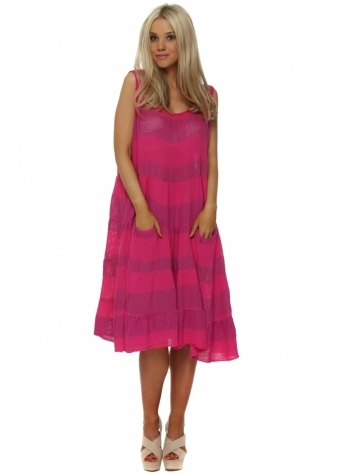 Hot Pink Cotton Pockets Casual Summer Dress