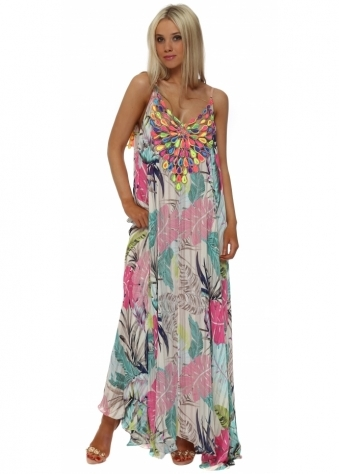 Pink Floral Print Neon Peacock Reversible Maxi Dress
