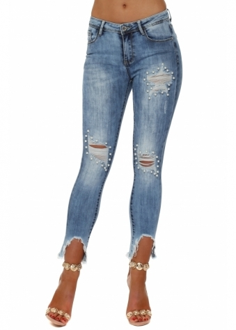 Blue Stretch Fit Distressed Pearl Jeans