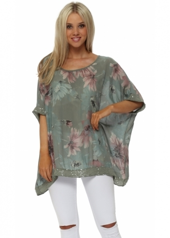 Khaki Floral Loose Fit Sequinned Top