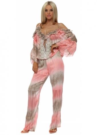 Coral & Mocha Stripe Cold Shoulder Jumpsuit