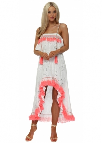 White Broderie Anglaise Coral Tassle Hi Lo Dress