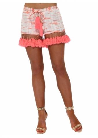 Coral Chiffon Tie Dye Tassle Shorts