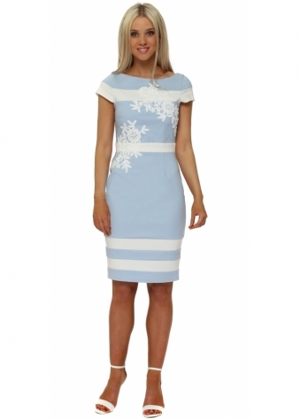 Light Blue Floral Applique Pencil Dress