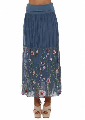 Denim Blue Floral Embroidered Silk Maxi Skirt