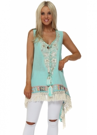 Turquoise Sequinned Braid Tunic Top