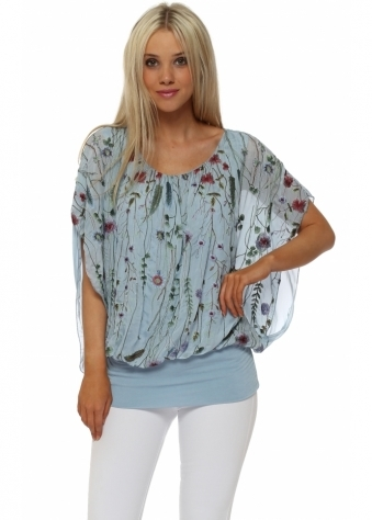 Baby Blue Floral Embroidered Silk Blouse
