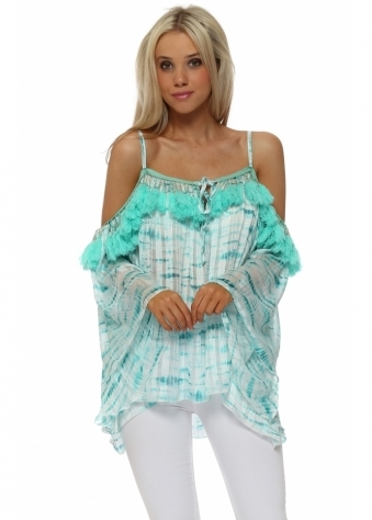 Aqua Chiffon Tie Dye Tassle Cold Shoulder Top