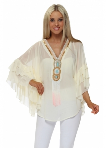 Cream Beaded Neckline Frill Sleeve Top
