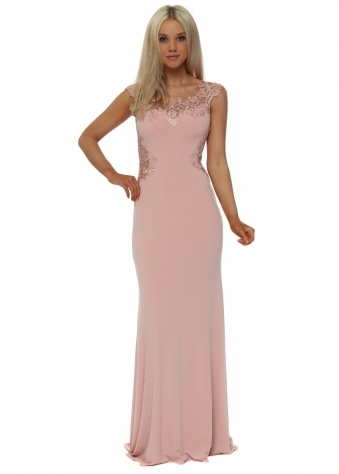 Dusky Pink Sequin Lace Back Maxi Dress