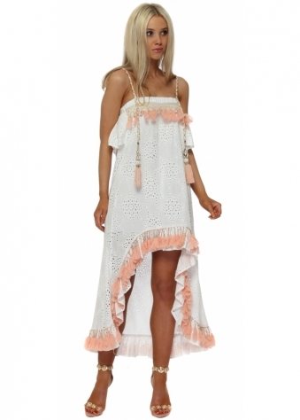 White Broderie Anglaise Peach Tassle Hi Lo Dress