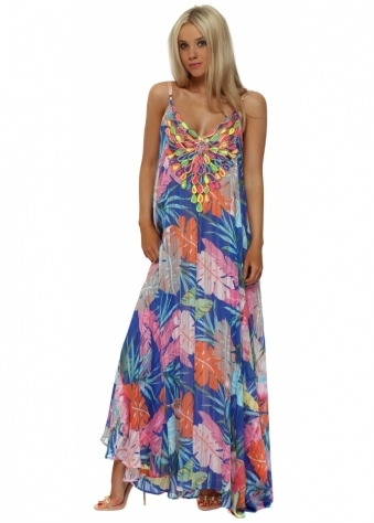 Blue Floral Print Neon Peacock Reversible Maxi Dress
