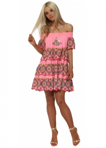 Candy Pink Tapestry Jewelled Bardot Mini Dress