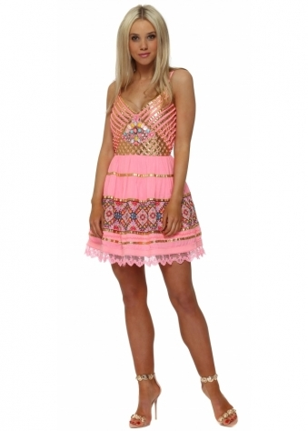 Candy Pink & Gold Embellished Babydoll Dress