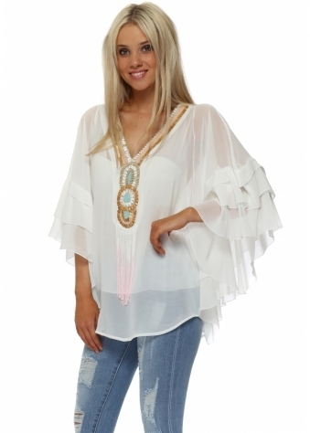 White Beaded Neckline Frill Sleeve Top