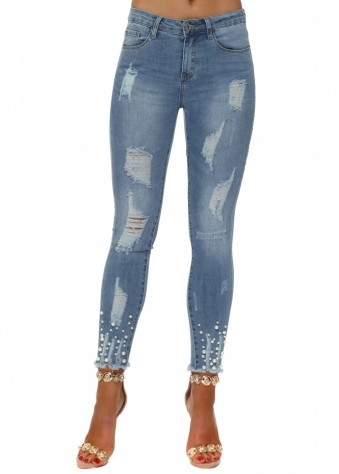 Blue Stretch Fit Distressed Pearl Ankle Jeans