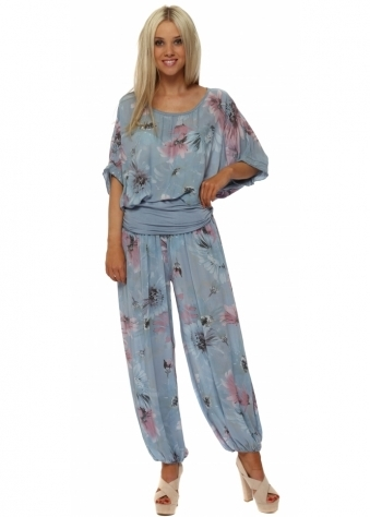 Light Blue Floral Harem Lounge Set