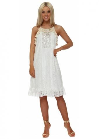White Lace Tassle Midi Dress