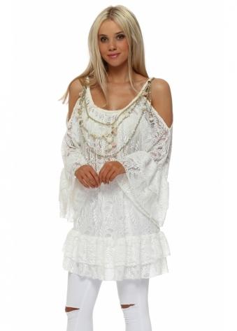 White Lace Cold Shoulder Necklace Top