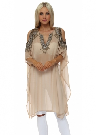 Beaded Cold Shoulder Kaftan