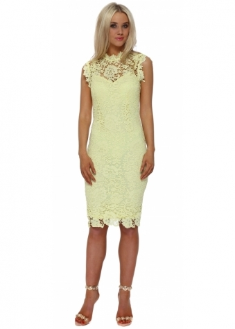 Yellow Crochet Lace Pencil Dress