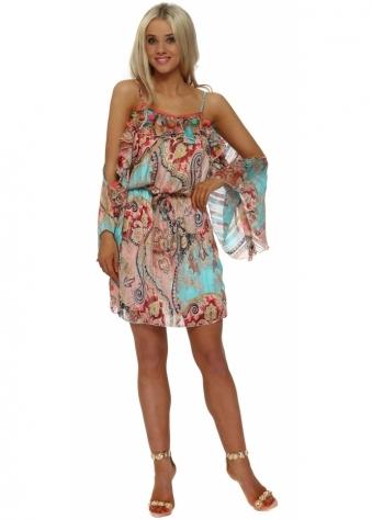 Aqua & Pink Paisley Cold Shoulder Tunic Dress