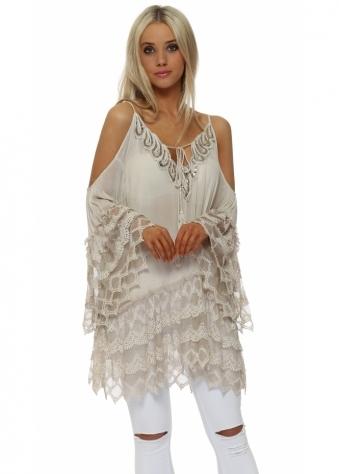 Beige Sequinned Lace Trim Cold Shoulder Top