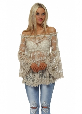 Sheer Embroidered Lace Bardot Long Sleeve Top