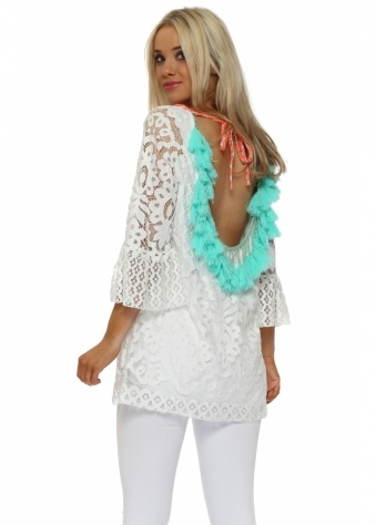 Scoop Back Aqua Tassle White Lace Tunic Top
