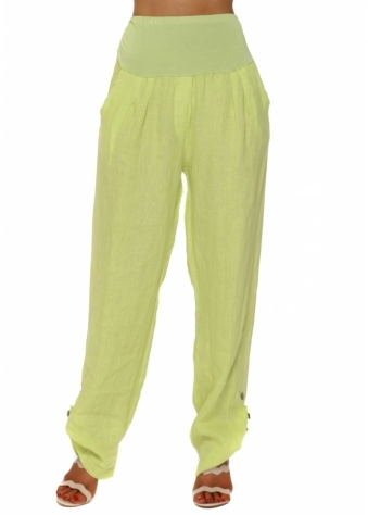 Lime Linen Turn Up Hem Loose Trousers