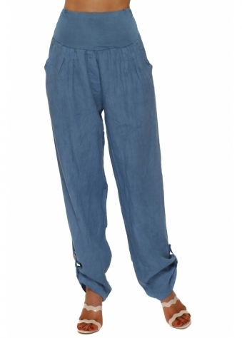 Denim Blue Linen Turn Up Hem Loose Trousers