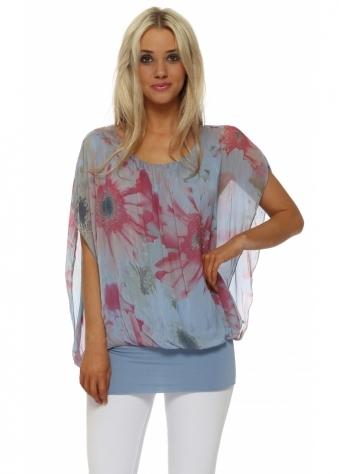 Blue Floral Silk Sleeveless Bandeau Hem Top