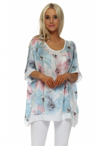 White Floral Loose Fit Sequinned Top