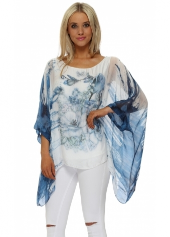 Ocean Blue Butterfly Floral Sparkle Silk Top