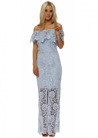 Blue Crochet Lace Bardot Maxi Dress