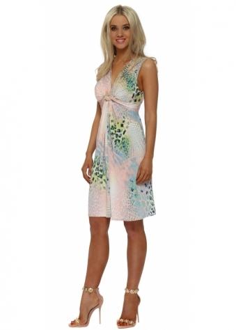 Pink Leopard Print Knot Front Midi Dress