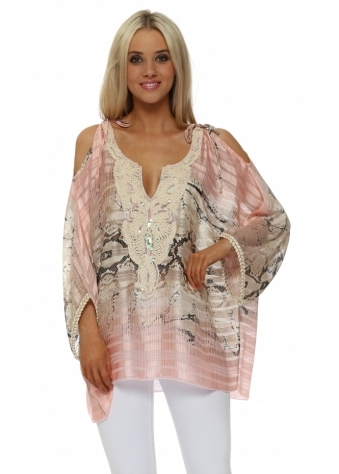 Baby Pink Snake Print Cold Shoulder Tunic Top
