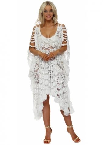 White Lace Pearl Embellished Cold Shoulder Kaftan Dress