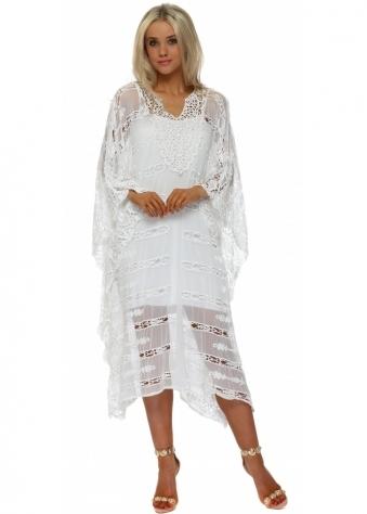 Bali White Cut Out Crochet Long Kaftan