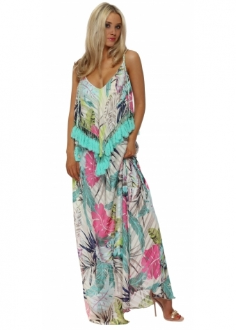 White Palm Print Aqua Tassle Maxi Dress