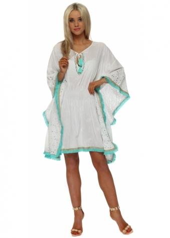 White Broderie Anglaise Aqua Tassel Kaftan Dress