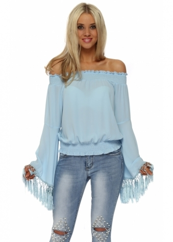Baby Blue Tassle Sleeve Off The Shoulder Top