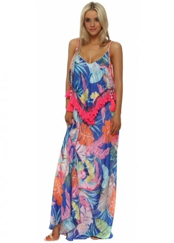 Blue Floral Print Pink Tassle Maxi Dress