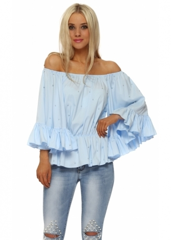 Pearl Embellished Blue Bardot Flared Sleeve Top